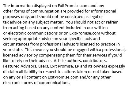 Exit Promise Disclosure Notice